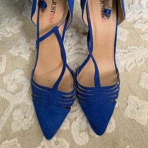 Royal blue faux suede heels